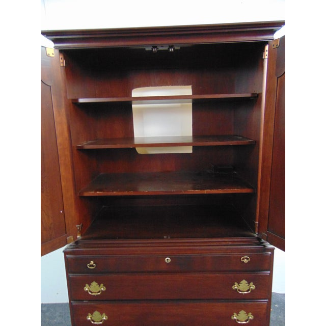Textile Durham Furniture Cherry Chippendale Linen Press For Sale - Image 7 of 11