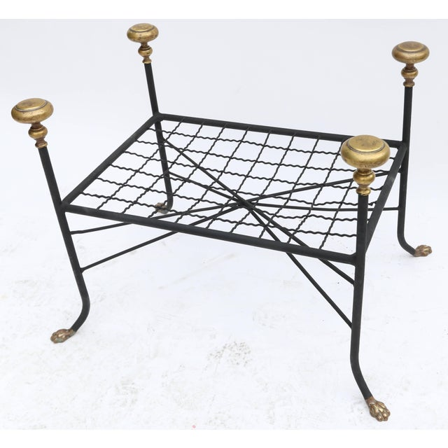 Black Metal Bench or Stool With Brass Finials and Claw Feet For Sale In Los Angeles - Image 6 of 7