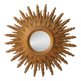 French Sunburst Double Layered Gilded Mirror, Circa 1950 For Sale