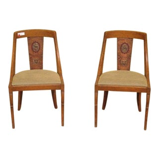 Antique Spanish Continental Hand Painted Back Chairs- a Pair For Sale