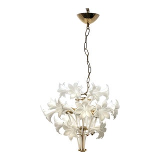 Brass and White Murano Lily Chandelier For Sale