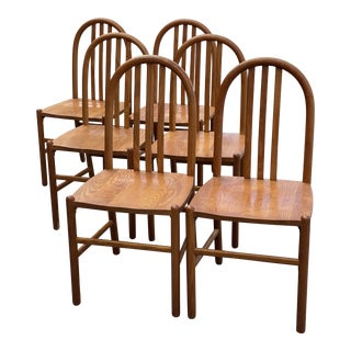 Vintage Wood Chairs in the Manner of Robert Mallot Stevens - Set of 6 For Sale