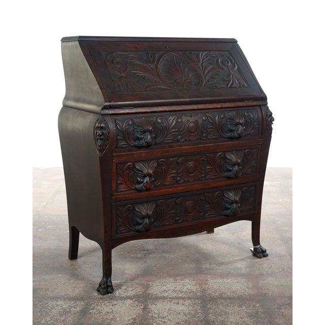 Traditional R. J. Horner C.1890's Carved Mahogany Drop Desk For Sale - Image 3 of 10