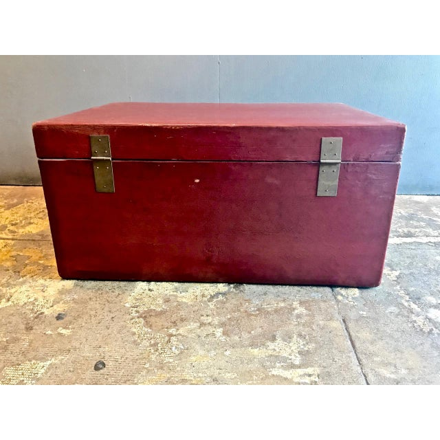 Asian Large Chinese Lacquered Pigskin Trunk For Sale - Image 3 of 10