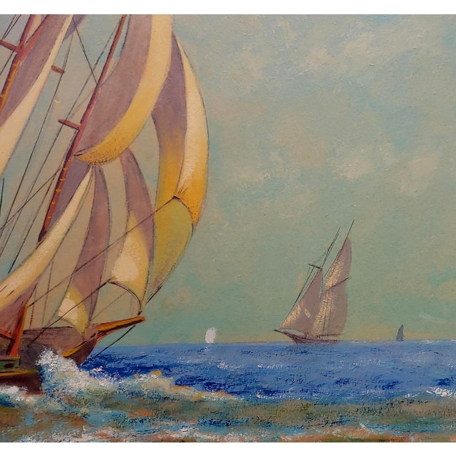 "E. D. Ward ""Sailboat Racing"" Painting, 1950s For Sale In Los Angeles - Image 6 of 10"