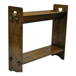 Vintage Arts & Crafts Mission Oak Wood Style D Handle Shelf For Sale