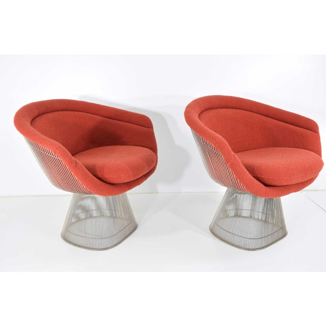 Red 1960s Warren Platner Nickel Plated Lounge Chairs - a Pair For Sale - Image 8 of 10