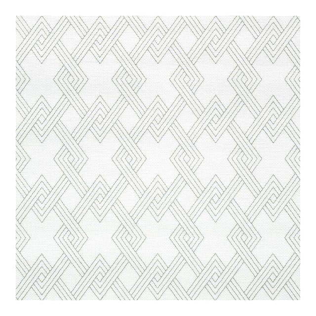 Sample - Schumacher Hix Embroidered Paperweave Wallpaper in Grey For Sale
