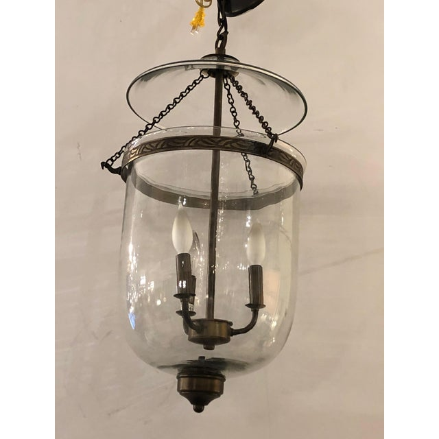 Metal Bell Glass Lantern Chandelier Pendant With Bronze Finish For Sale - Image 7 of 7