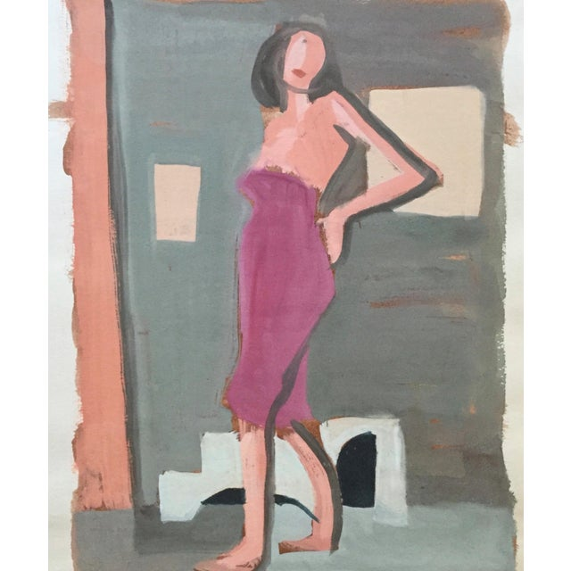 "Gouache Mid Century Bay Area Figurative Painting ""Angelina"" For Sale - Image 7 of 7"