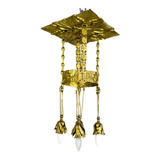 Vienna Secession Nouveau Brass Chandelier W/ Square Chain & Foliage For Sale