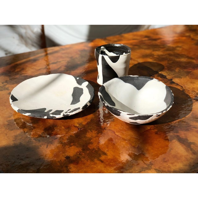 1990s Studio Ceramic Black and White Dishware Set - 3 Piece Set For Sale - Image 5 of 9