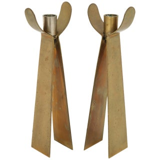 Pair of Danish Brass Candleholders For Sale