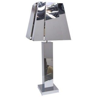 Sculptural 1970s Chrome Tall Table Lamp by Curtis Jere, Signed For Sale