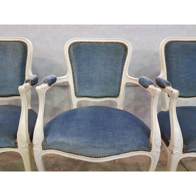 Set of 3 Large French Vintage Whitewashed Velvet Blue Upholstery Louis XV Armchairs For Sale - Image 12 of 13