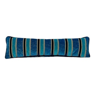 Custom Made Contemporary Blue Stripe Cut Velvet Decorative Lumbar Pillow For Sale