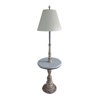 1960's French Provincial Floor Lamp With Marble Table with Shade For Sale