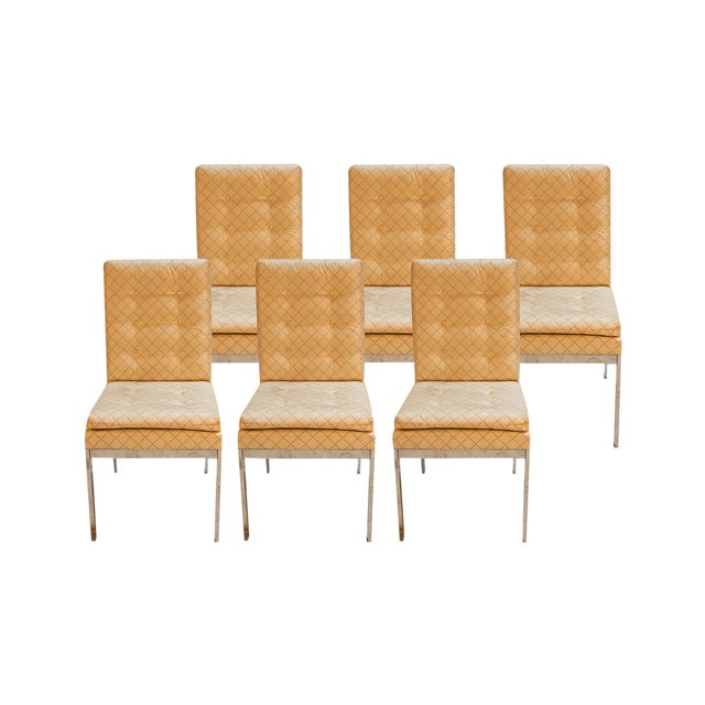 Mid Century D I a Design Institute America Chrome High Back Dining Chairs - Set of 6 For Sale