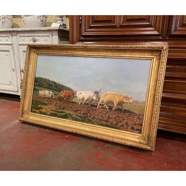 """Canvas Mid-19th Century French Oil on Canvas Cows Painting """"Plowing in Nivernais"""" For Sale - Image 7 of 13"""