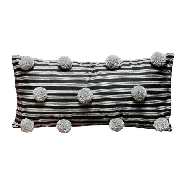Black Handwoven Lurik Striped Pillow With Concrete Grey Pom-Poms - Image 7 of 7
