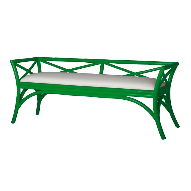 This beautifully designed bench from David Francis features a Rattan frame, mitered corners and a tight seat upholstered...
