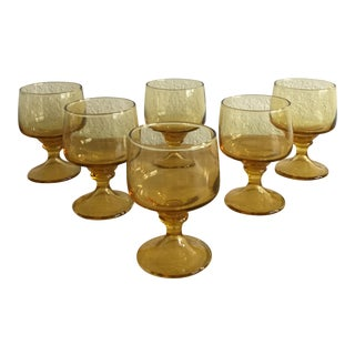Vintage Mid Century Amber Dessert or Cocktail Glassware For Sale