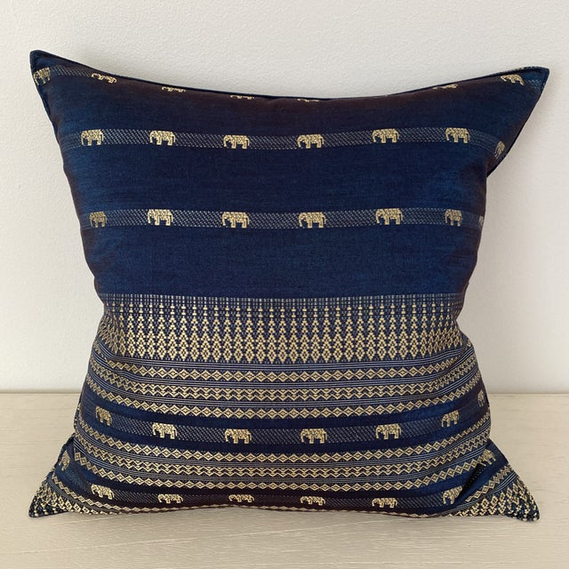 Blue Thai Silk Pillow With Elephant Motif For Sale - Image 13 of 13