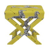 Image of Scalamandre X Bench in Yellow Zebra For Sale