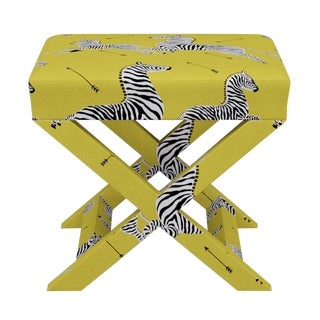 Scalamandre X Bench in Yellow Zebra For Sale