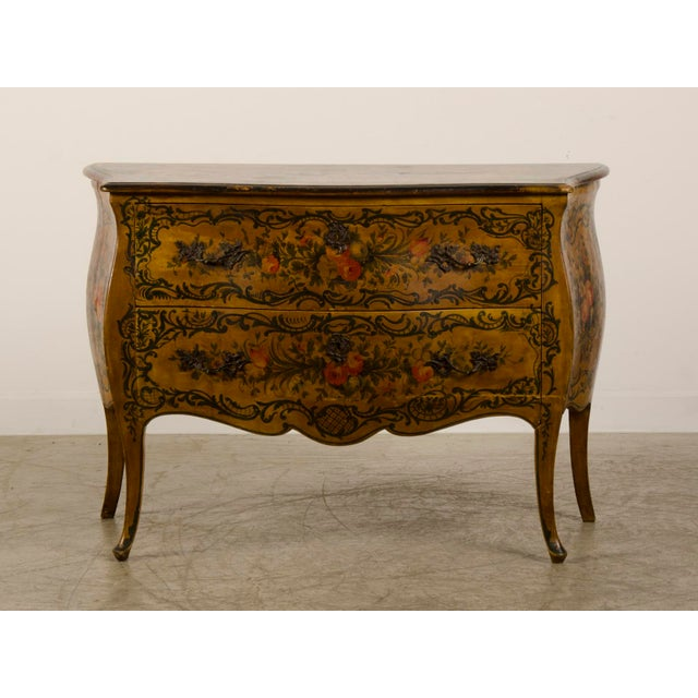 Italian Italian Louis XV Rococo Style Antique Painted Bombè Chest circa 1885 For Sale - Image 3 of 10