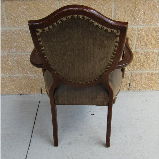 French Louis XVI Shield Back Arm Side Chair With Needlepoint Tapestry For Sale - Image 4 of 7