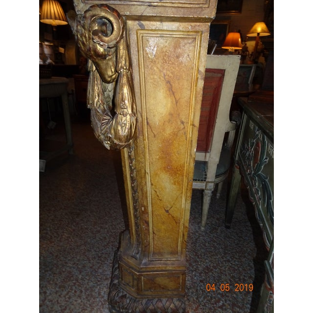 Stunning 19th century French pedestal . Carved gilt wood and faux finish marble paint in ochre color. Jules Cesar profile...