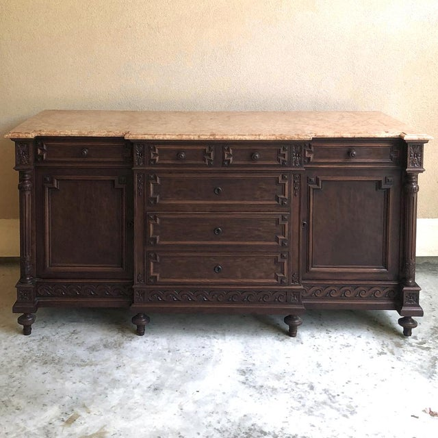 19th Century French Louis XVI Mueche Mahogany Marble Top Dresser ~ Cabinet For Sale - Image 13 of 13
