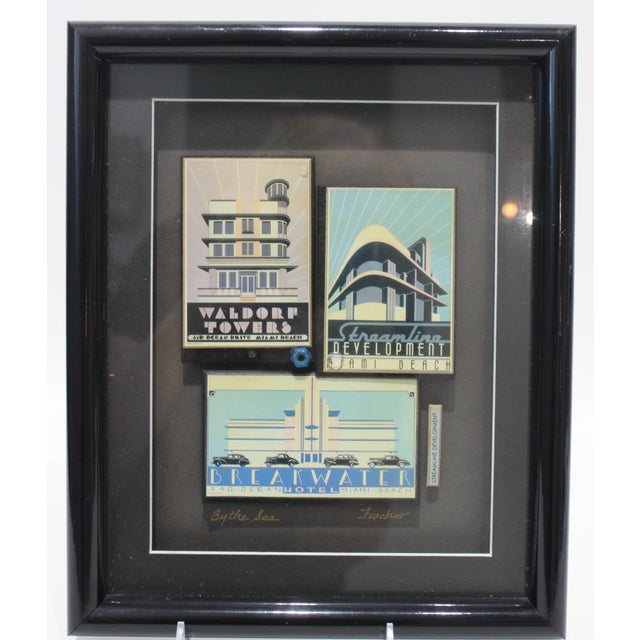 """""""By the Sea"""" Collage Streamline Re-Development of Art Deco Architecture Miami Beach by Fischer For Sale - Image 9 of 11"""
