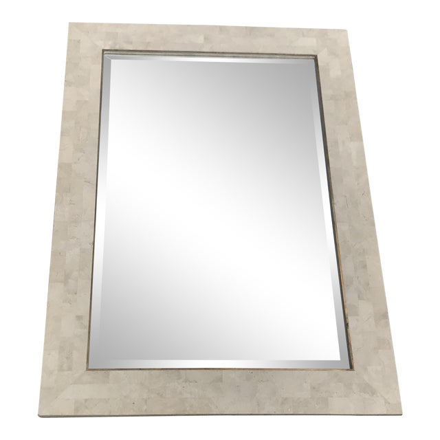 Maitland Smith Tessellated Stone Brass Inlay Wall Mirror For Sale