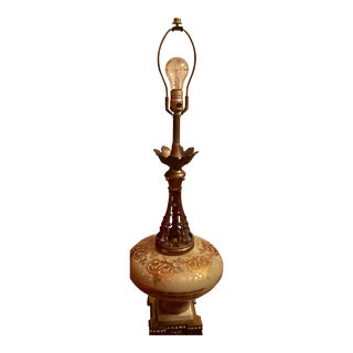Mid-Century Glass Marble & Brass Lamp For Sale