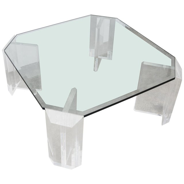 Glass Lucite and Glass Square Cocktail Table by Charles Hollis Jones For Sale - Image 7 of 7