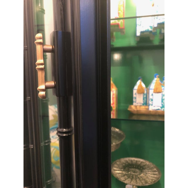 Green 1950s Mid-Century Modern Bamboo China Cabinet For Sale - Image 8 of 11