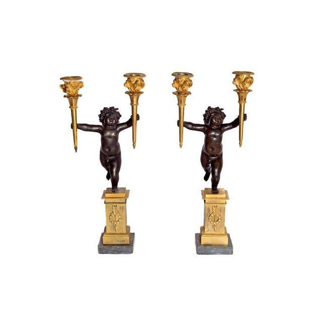 Pair of French Charles X Patinated Bronze and Gilt Figurative Candelabras For Sale - Image 13 of 13