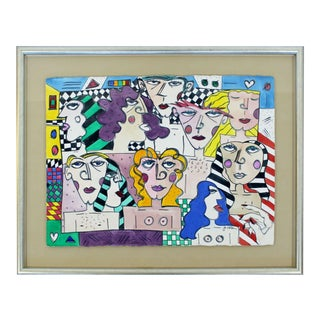 Contemporary Modern Framed Acrylic Portrait Painting Signed Jo Rosen Late 1980s For Sale