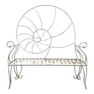 Art Nouveau Nautilus Shell Wrought Iron Outdoor Garden Bench 2 For Sale