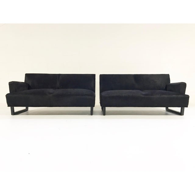 African Forsyth One of a Kind 1950s Sectional Sofa in Natural Black Brazilian Cowhide For Sale - Image 3 of 8