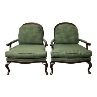 French Style Custom Thomasville Green Bergere Style Armchairs - a Pair