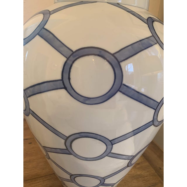 Blue and White Linked Circles Porcelain Temple Jar For Sale - Image 4 of 13