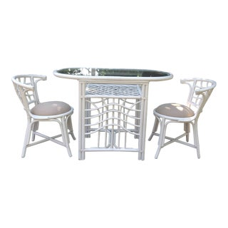 20th Century Boho Chic White Rattan Bistro Set - 3 Pieces For Sale