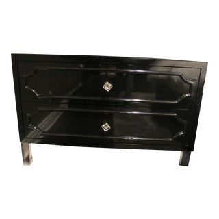Custom Black Lacquer Dresser With Acrylic Legs For Sale