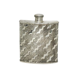 Vintage English Silver-Plate Hip Flask For Sale