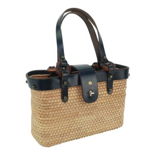 1960s John Romain Navy Blue Leather and Straw Mini Tote Handbag For Sale
