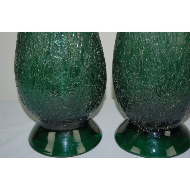 Murano Vintage Murano Glass Table Lamps Green For Sale - Image 4 of 9