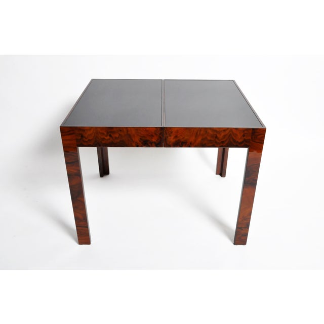 Mid-Century Modern Hungarian Walnut Veneer Dining Table With Extensions For Sale - Image 3 of 13